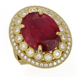 13.85 ctw Certified Ruby & Diamond Victorian Ring 14K Yellow Gold