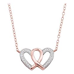 10kt Rose Gold Round Diamond Double Heart Awareness Ribbon Pendant Necklace 1/10 Cttw