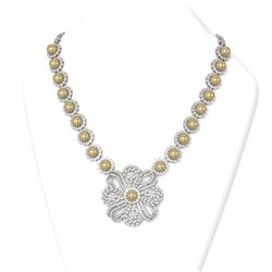 15 ctw Diamond and Pearl Necklace 18K White Gold