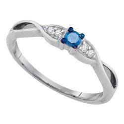 10kt White Gold Round Blue Color Enhanced Diamond Solitaire Promise Bridal Ring 1/8 Cttw