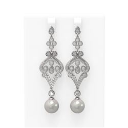 4.57 ctw Diamond and Pearl Earrings 18K White Gold