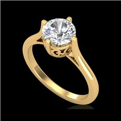 1.25 ctw VS/SI Diamond Solitaire Art Deco Ring 18K Yellow Gold