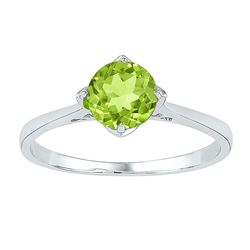 Sterling Silver Round Lab-Created Peridot Solitaire Ring 7/8 Cttw
