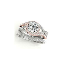 1.4 ctw Certified VS/SI Diamond 2pc Set Ring Solitaire Halo 14K White & Rose Gold