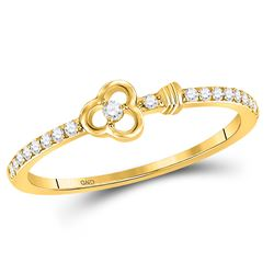 10kt Yellow Gold Round Diamond Stackable Key Ring 1/8 Cttw