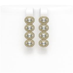 4.52 ctw Oval Cut Diamond Micro Pave Earrings 18K Yellow Gold
