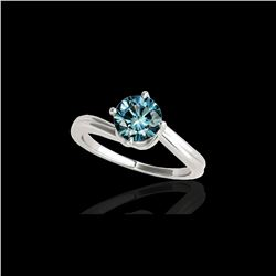1 ctw SI Certified Fancy Blue Diamond Bypass Solitaire Ring 10K White Gold