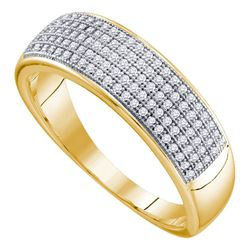 10kt Yellow Gold Mens Round Diamond Wedding Band Ring 1/3 Cttw