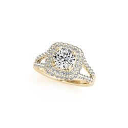 1.53 ctw Certified VS/SI Diamond Halo Ring 18K Yellow Gold