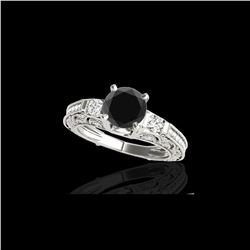 1.63 ctw Certified VS Black Diamond Solitaire Antique Ring 10K White Gold