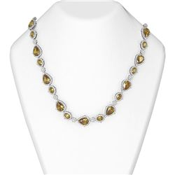 61.25 ctw Canary Citrine & Diamond Necklace 18K White Gold
