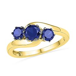 10kt Yellow Gold Round Lab-Created Blue Sapphire 3-stone Ring 1-1/2 Cttw
