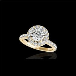 2 ctw Certified Diamond Solitaire Halo Ring 10K Yellow Gold