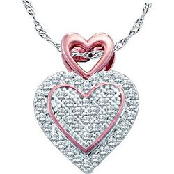 10kt Two-tone Gold Round Diamond Heart Pendant 1/6 Cttw