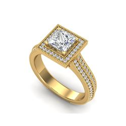 2 ctw Princess VS/SI Diamond Solitaire Micro Pave Ring 18K Yellow Gold