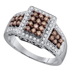 10kt White Gold Round Brown Diamond Square Cluster Ring 5/8 Cttw