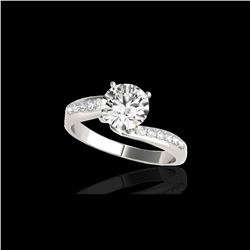 1.4 ctw Certified Diamond Bypass Solitaire Ring 10K White Gold