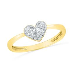 10kt Yellow Gold Round Diamond Heart Cluster Ring 1/10 Cttw