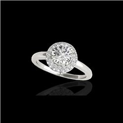 1.43 ctw Certified Diamond Solitaire Halo Ring 10K White Gold