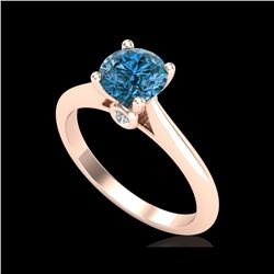 1.08 ctw Fancy Intense Blue Diamond Art Deco Ring 18K Rose Gold