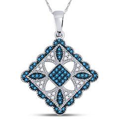 10kt White Gold Round Blue Color Enhanced Diamond Square Pendant 1/4 Cttw