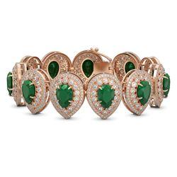56.04 ctw Emerald & Diamond Victorian Bracelet 14K Rose Gold