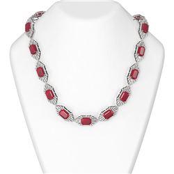 111.01 ctw Ruby & Diamond Necklace 18K White Gold