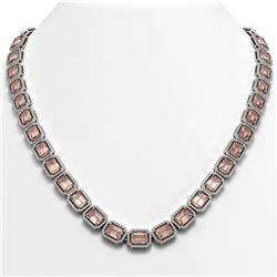 50.99 ctw Morganite & Diamond Micro Pave Halo Necklace 10K White Gold