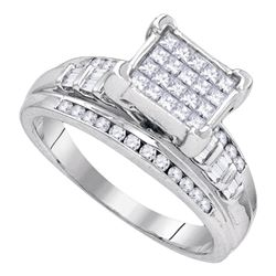 Sterling Silver Princess Diamond Square Cluster Bridal Wedding Engagement Ring 7/8 Cttw