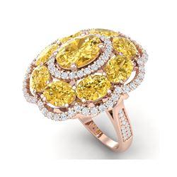 13.71 ctw Canary Citrine & VS Diamond Ring 18K Rose Gold