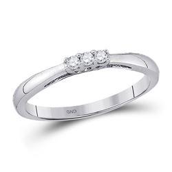 10kt White Gold Round Diamond 3-stone Bridal Wedding Engagement Ring 1/20 Cttw
