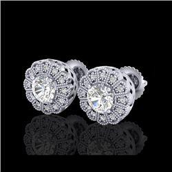 1.32 ctw VS/SI Diamond Solitaire Art Deco Stud Earrings 18K White Gold
