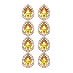 9.2 ctw Fancy Citrine & Diamond Micro Pave Halo Earrings 10K Rose Gold