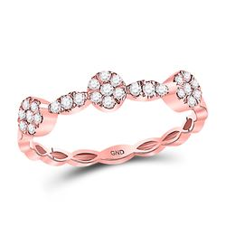 10kt Rose Gold Round Diamond Circle Stackable Band Ring 1/4 Cttw