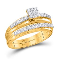 14k White Gold Round Diamond Cluster Bridal Wedding Engagement Ring Band Set 1/2 Cttw