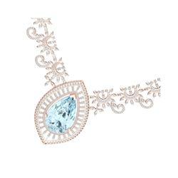 68.1 ctw Sky Topaz & VS Diamond Necklace 18K Rose Gold
