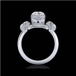 3 ctw VS/SI Diamond Art Deco 3 Stone Ring 18K White Gold
