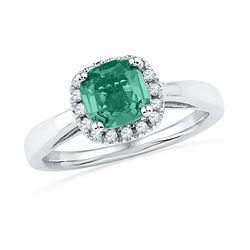 10k White Gold Lab-Created Emerald & Diamond Ring 1-1/2 Cttw
