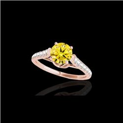 1.46 ctw Certified SI/I Fancy Intense Yellow Diamond Ring 10K Rose Gold