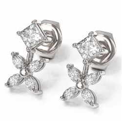 1.5 ctw Princess and Marquise Cut Diamond Earrings 18K White Gold