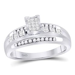 Sterling Silver Princess Diamond Square Cluster Bridal Wedding Engagement Ring 1/3 Cttw