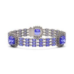 36.34 ctw Tanzanite & Diamond Bracelet 14K White Gold