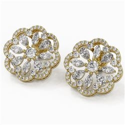 3.75 ctw Pear and Marquise Diamond Earrings 18K Yellow Gold