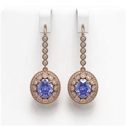 9.47 ctw Tanzanite & Diamond Victorian Earrings 14K Rose Gold