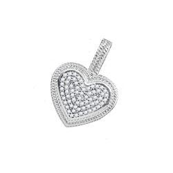 10kt White Gold Round Diamond Heart Milgrain Pendant 1/6 Cttw