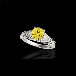 1.35 ctw Certified SI Fancy Yellow Diamond Solitaire Ring 10K White Gold