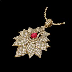 3 ctw Ruby & Micro Pave VS/SI Diamond Necklace 18K Yellow Gold