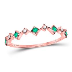 10kt Rose Gold Round Emerald Diamond Square Stackable Band Ring 1/5 Cttw