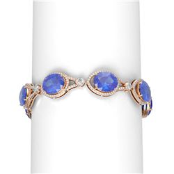 45.25 ctw Tanzanite & Diamond Bracelet 18K Rose Gold