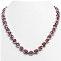 45.93 ctw Ruby & Diamond Micro Pave Halo Necklace 10K White Gold